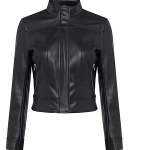 French Connection Ilma Faux Leather Moto Jacket 10